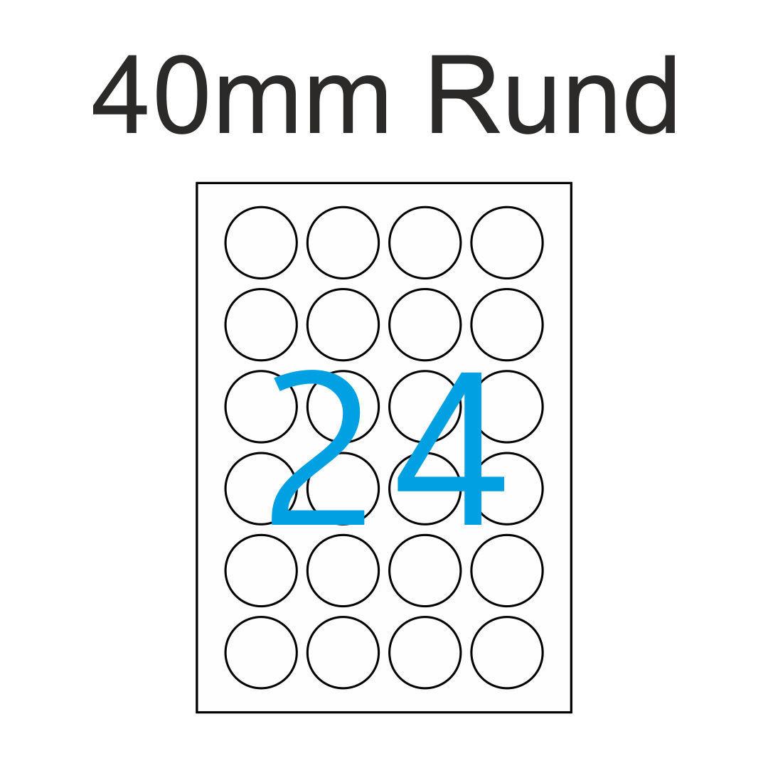 40mm Luma Etiketten Rund Weiß 24 Runde Aufkleber Pro A4 Für Drucker