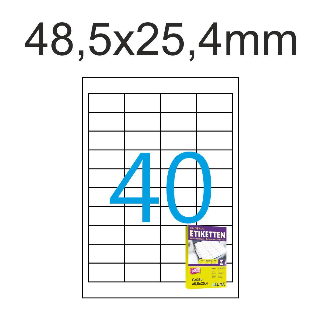 Laser Inkjet Label 1000 St. 25 Blatt Drucker Etiketten 48,5x25,4 mm DIN A4