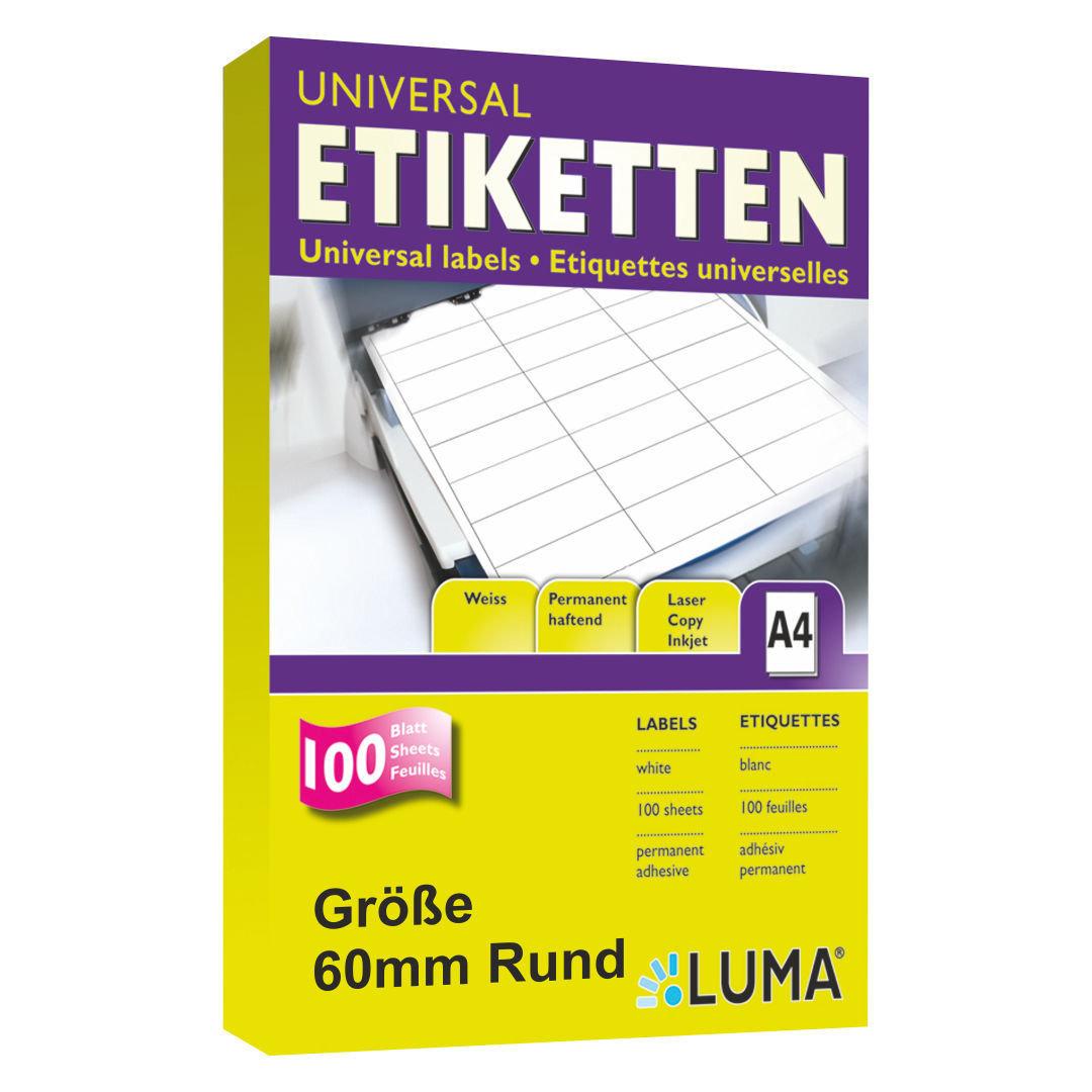 60 Mm Luma Etiketten Rund Runde Aufkleber In Weiss Zum Bedrucken