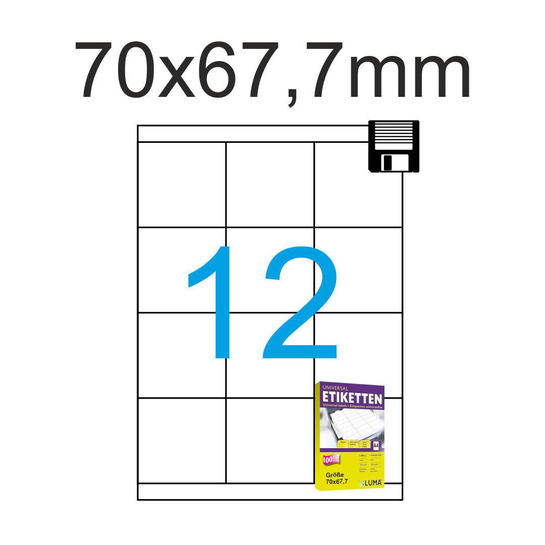 Papier weiß 12000 Etiketten A4 Bogen 60 mm rund selbstklebend 1000 Blatt