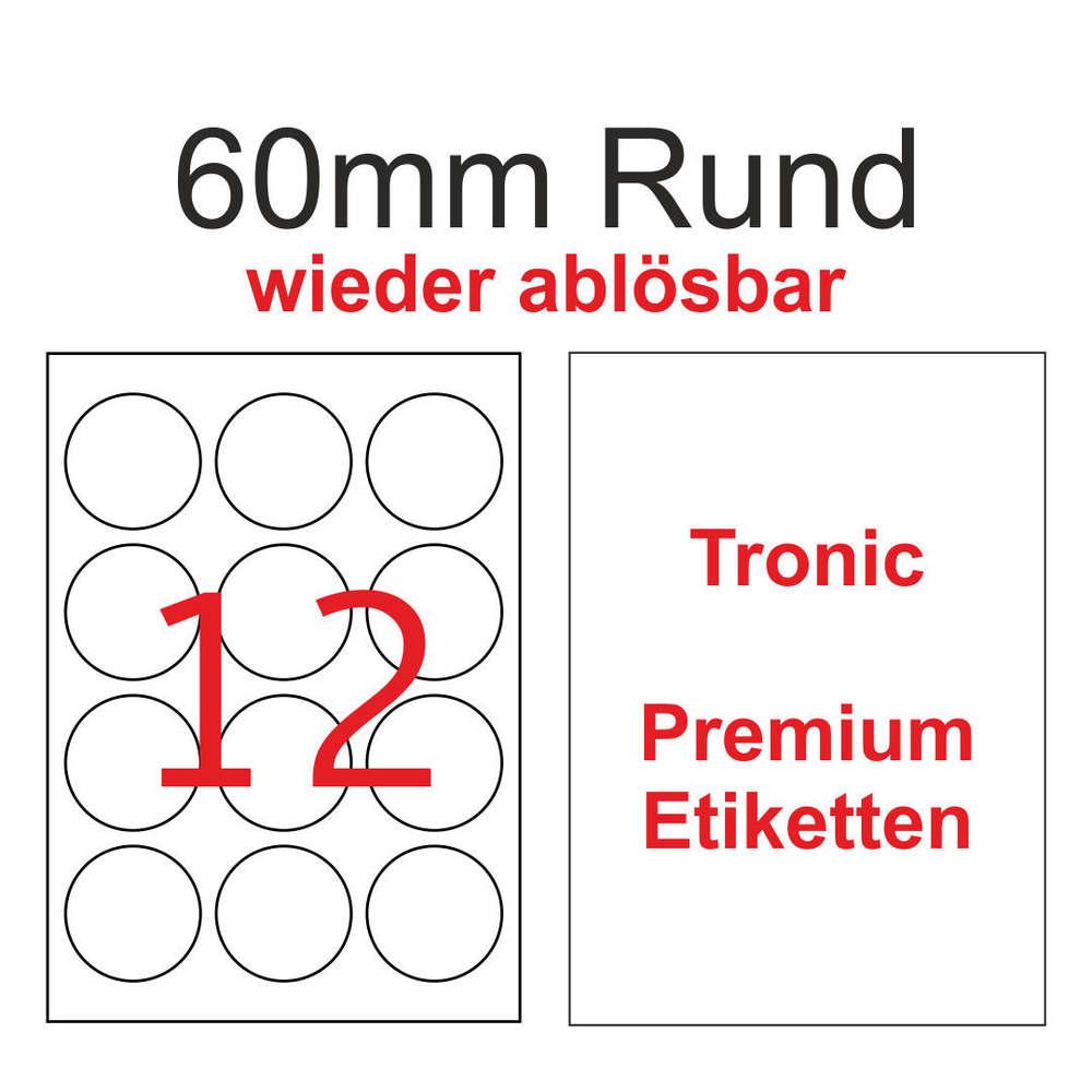 60mm Runde Ablösbare weiße Tronic Etiketten Non Permanent